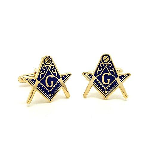 BOBIJOO Jewelry - Manschettenknöpfe Freimaurer Messing Vergoldet, Gold Email Blau Freimaurerei Masonic Freemason