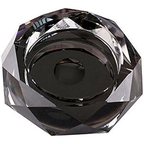 Tri-polar Ashtray 5,9 pollici doppio vetro cristallo ottagonale posacenere, nero
