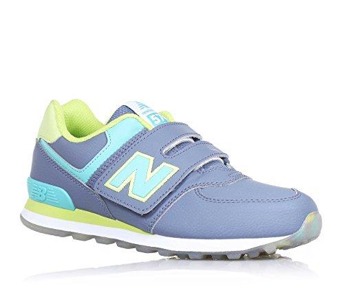 NEW BALANCE - Chaussure de sport grise et jaune à lacets, en cuir et tissu, avec logo latéral et à l'arrière bleu ciel, coutures visibles et semelle en caoutchouc, garçon, garçons