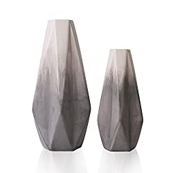 Teresa's Collections Ceramic Flower Vases, Set of 2 Grey Handmade Modern Geometric Decorative Vase for Living Room, Kitchen, Table, Home, Office, Wedding, Centerpiece or as a Gift, 28/22cm
