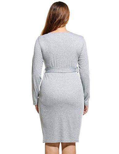 ZEARO Pullover Etuikleid Plus Größe Gürtel Dekor Schlank Seite Ausschnitt Lange Ärmel Gestrickt Kleider L - 4XL Grau