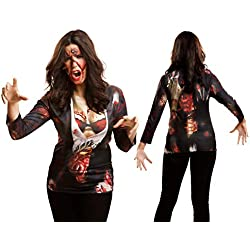 Yijja Fast Fun - Zombie Girl, camiseta de manga larga para adultos, talla M (Charm Kingdom YJ00006)
