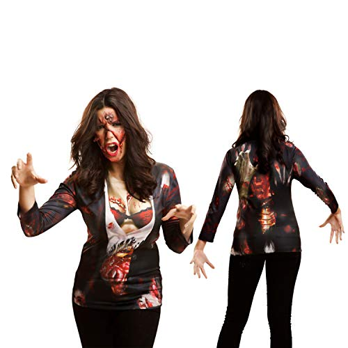 Yijja Fast Fun - Zombie Girl, camiseta de manga larga para adultos, talla L (Charm Kingdom YJ00007)