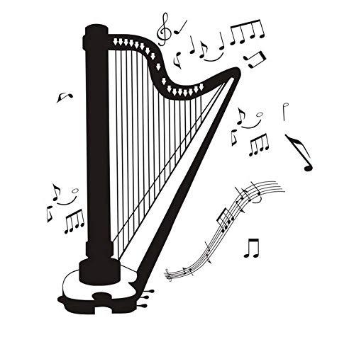 Alle arten musiknote wandaufkleber für musik zimmer harfe vinyl diy abziehbilder aufkleber wandkunst wohnkultur 58x66 cm
