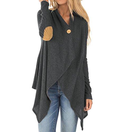 n, Mode Lange Ärmel Patchwork unregelmäßige offene Front Outwear Mantel (XL, Grau) (Cowgirls Kostüme Für Frauen)