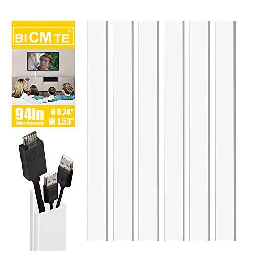 Canaline Elettriche | Nascondi Cavi | TV elettrici Wire DEL CAVO TIDY PLASTICA COPRI FILI Nascondi il Trunk PVC BICMTE - Bianco(15.6' (W) x 0.76' (H) - 1.5' (W)) (Combinazione uno)