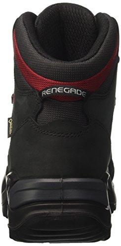 Lowa Renegade Gtx Mid, Stivali da Escursionismo Uomo Grigio (Schwarz/Rot)
