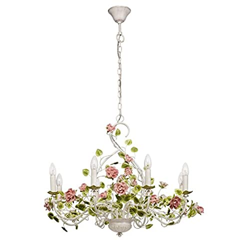 Elegant and delicate long pendant chandelier in floral decor with