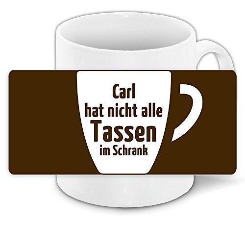 Lustige Kaffee-Tasse mit Namen Carl und witzigem Motiv