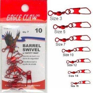 Eagle Claw 01044–012Corps pivotant avec sécurité Snap, 12mm, finition Rouge