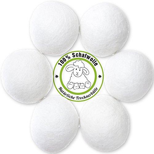 6 Stück Natürliche Trocknerbälle aus 100%iger Schafwolle | Zeit- und Kostensparend für gepflegte Wäsche und eine glückliche Umwelt | Original MountainGoods