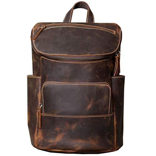 Männer in Öl getaucht Kuh Leder Rucksäcke Vintage Travel Daypacks Crazy Horse Leder Student Rucksäcke Chocolate