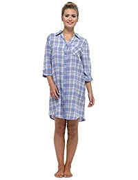 31ecf66311 Womens Ladies Nightwear Sleepwear Check Button Through Nightshirt With Top  Pocket