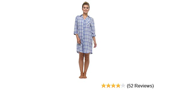 8525d0fc32 Foxbury Ladies Brushed Cotton Button Front Check Nightshirt  Amazon ...