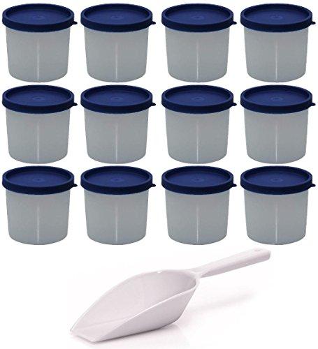 Viva-Haushaltswaren - 12 kleine Frischhaltedosen / Vorratsdosen / Gefrierdosen für Kräuter / Gewürze / Reste, ca. 200 ml, rund, inkl. einer Einfüll- Schaufel ca. 18,5 cm