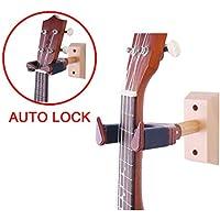 Ukelele perchero de pared Auto Lock Seguridad Soporte de pared de madera, guitarra y mandolina Hanger, palisandro