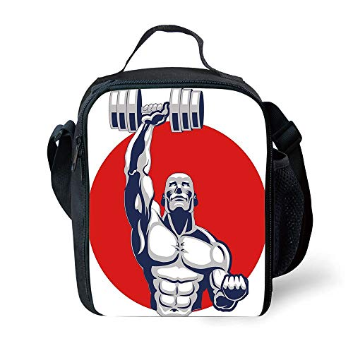 ZKHTO School Supplies Fitness,Muscular Man Lifting Barbells Body Builder Icon Strength Work Out Powerful,Silver Red White for Girls or Boys Washable -