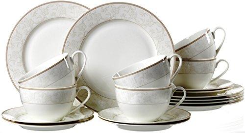 Ritzenhoff & Breker Kaffeeservice Isabella, 18-teilig, Fine-China-Porzellangeschirr, Weiß mit...