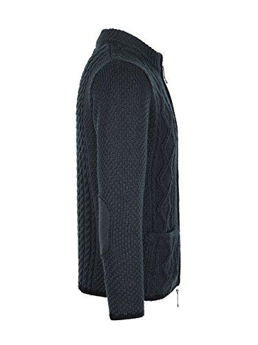 ALMBOCK Trachtenjacke schwarz Herren | Janker mit zwei praktischen Einschubtaschen | Herren Strickjacke mit Reißverschluss - Trachtenweste Herren 46 - 3