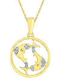 Silvernshine New D/VVS1 Diamond Pisces Zodiac Pendant Necklace In 14K Yellow Gold Fn