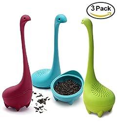 teesieb silikon teefilter für losen tee Teezubehör - Baby Nessie mit langem Griff Hals & Niedlich Ball Körper Loch Ness Monster Silikon Teesiebe & Teefilter