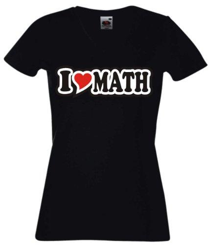 T-Shirt Damen - I Love Heart - V-Ausschnitt I LOVE MATH Schwarz