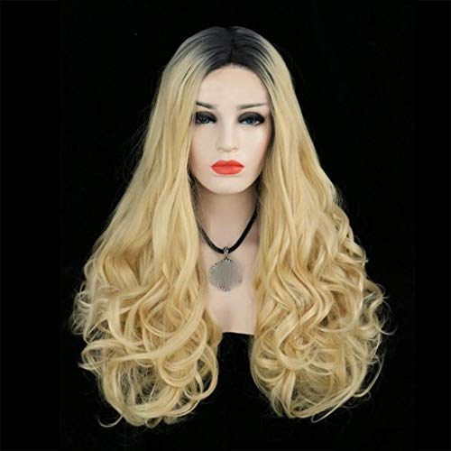 Oyedens Lange Lockige Perücken Goldblonde Haare Perücke Synthetische Perücke 360 Spitze für Frauen Karneval Mad Hatter Perücke