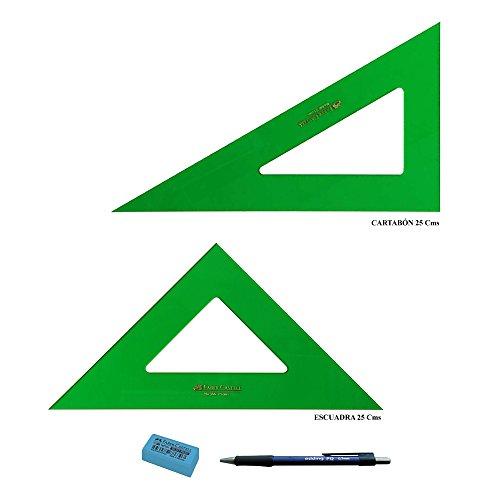 PACK LOTE Faber Castell Técnico -Escuadra 566-25 Cms + Cartabón 666-25 Cms + REGALO