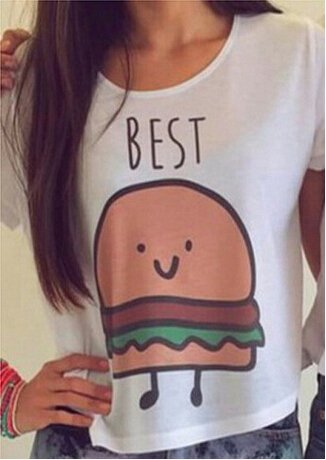 Hengsong Damen Weiß Shirt Kurzarm T Shirt mit Aufdruck Best Friends T-Shirt Pommes Frites Damen Sommer Tops Mit Cartoon BEST