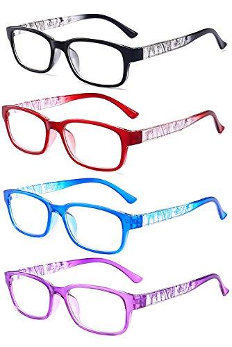 VEVESMUNDO Lesebrillen Damen Herren Vintage Blumen Rechteckig Brillen Vollrahmen Mode Klare Gläser Lesehilfe Augenoptik Dioptrien 1 .0-4.0