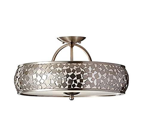 Highworth Manor - Brushed Steel Semi-Flush Ceiling Light With Mosaic Pattern
