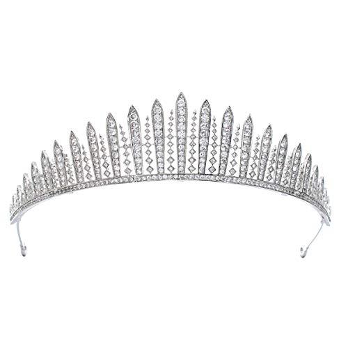 Corona clásica de circonita cúbica para novia