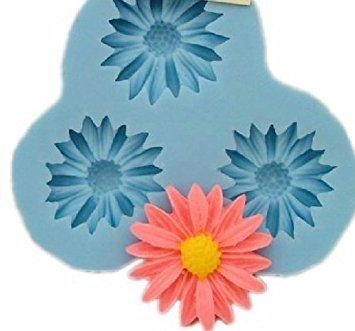 Allforhome 3-er Silikon-Form zum Backen und Basteln, Mini-Blume, für Fondant, Ton, Fimo-Knete, Süßigkeiten, Schokolade, Kuchen-Deko, 2,7cm - Ton Formen