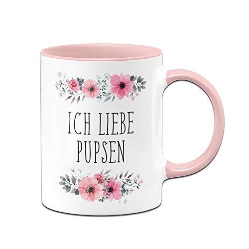 Tassenbrennerei Tasse mit Spruch Ich Liebe Pupsen, furzen in rosa blumig - Bürotasse, Sprüchetasse, Tassen mit Sprüchen lustig (Rosa)