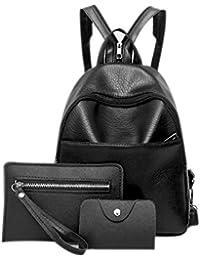 Bolso de mochila mujer, Dxlta 3 piezas Cuero de PU - Bolsa de hombro - Set de bolsos para tarjetas Conjunto Negro