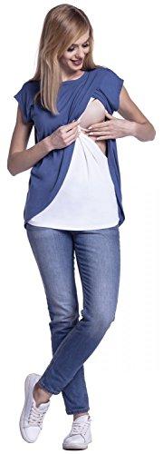 Happy Mama. Damen Umstandsmoden Top Stillshirt Lagendesign Wickeln-Schicht. 448p Blau Jeans
