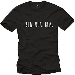 Camisetas Divertidas con Frases para Hombres - BLA BLA BLA - Negras M