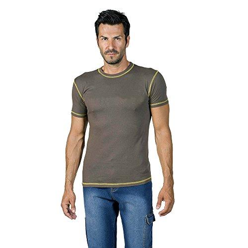 logica-spinning-t-shirt-cotone-marrone-cuciture-contrasto-giallo-maglia-maniche-corte-girocollo-tint