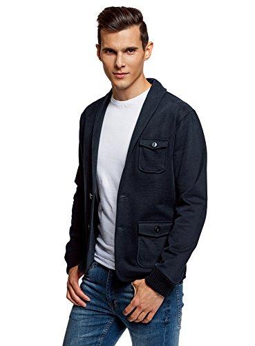oodji Ultra Herren Jersey-Blazer mit Seitentaschen, Blau, DE 50 / M (Klappe Mit Blazer Baumwoll-tasche)