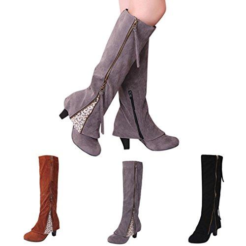ESAILQ Bottes Femme - Chaussures Classiques Rétro -Plus Taille Longue à Glissière Chaussures Talon Haut 5-8CM