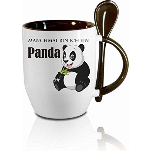 """Tasse m. Löffel \"""" Manchmal bin ich ein Panda \"""" Löffeltasse, Kaffeetasse mit Motiv,Bürotasse, bedruckte Tasse mit Sprüchen oder Bildern - auch individuelle Gestaltung nach Kundenwunsch"""