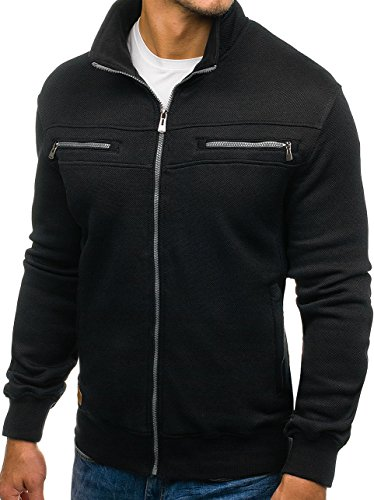 BOLF Herren Sweatshirt Sweatjacke Langarmshirt Stehkragen Zip 1A1 MIX Schwarz_1905