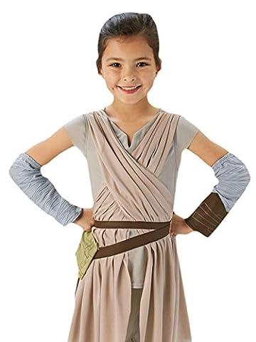 erdbeerloft - Mädchen Karneval Kostüm Deluxe Rey Star Wars , Beige, Größe 122-128, 7-8 Jahre