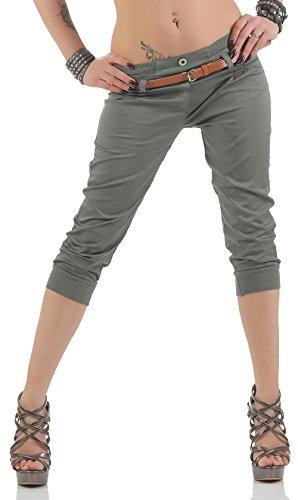 malito Damen Capri Hose mit Gürtel | Chino Hose mit Stretch | lässige Stoffhose | Skinny - elegant 5398 (oliv, XL) - Damen Business-kleidung