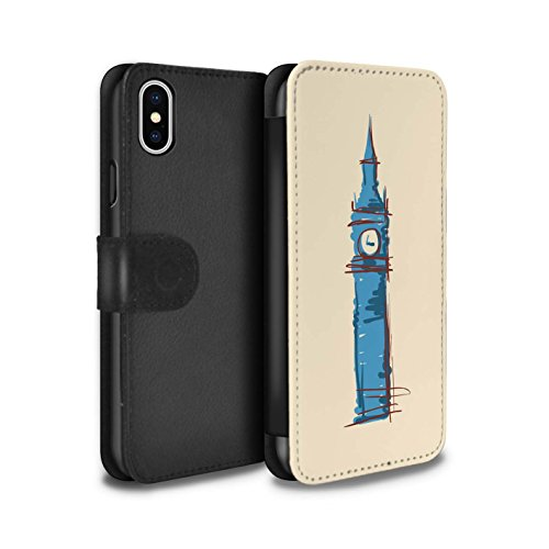 Stuff4 Coque/Etui/Housse Cuir PU Case/Cover pour Apple iPhone X/10 / Colisée / Rome Design / Monuments Collection Big Ben / Londre