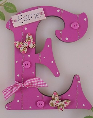 Personalised U0027*ANY LETTER With Any Name Available*u0027 Butterfly Childs Kids  Bedroom Name Plaque Sign Door Plate (CERISE)