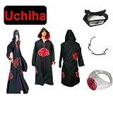 Cosplay de Traje para cosplay Naruto Akatsuk Ninja Uchiha Itachi Set--Capa con capucha (S: Tamaño 150cm-158cm) + Itachi Uchiha Ninja diadema + collar + anillo