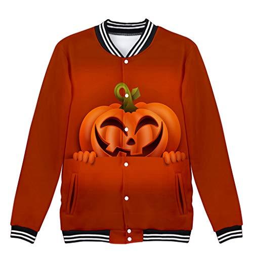 Beonzale Halloween kostüm Frauen-Halloween-Horror-Druck-Partei- Langarm Hoodies Casual Hülsen-Pullover-mit Kapuze Baseballjacke