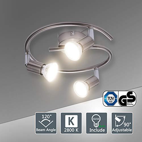 Bojim Lámpara de techo LED Plafón con Focos Giratorios 3X Bombillas GU10...