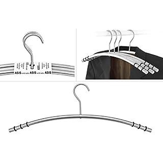 Designer Kleiderbügel aus Edelstahl rostfrei - 6 Stück - matt gebürstet - von ASIS nettrade - mit Gummiringe als Antirutsch im Schulterbereich